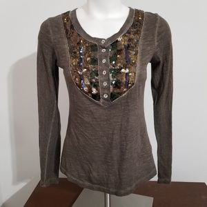 Free People Brown Henley Top Size Xsmall Sequin